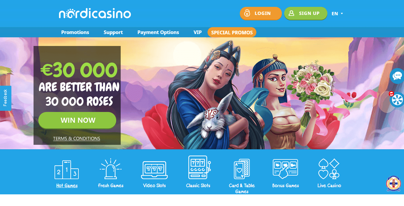 Spil i bedste online casino Nordicasino