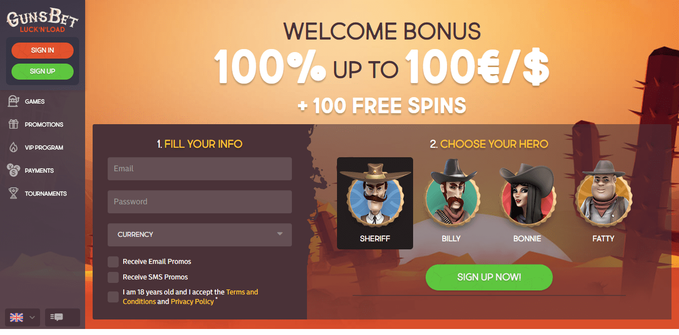 officiel side af online casino Guns Bet